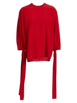 STELLA MCCARTNEY Jaden Long Balloon Sleeve Silk Top