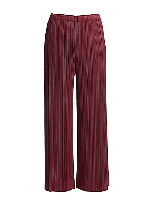 Image of A staple for the modern woman, these easy-care trousers are finished with the brand's signature garment pleated construction. Their chic high rise and streamlined straight leg make them ideal for the office or running errands. Elasticized waistband. Slip-