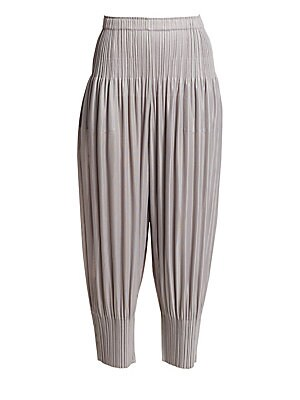 Image of Lightweight and fluid, these cropped harem pants are finished with the brand's signature garment pleating for an easy-care pant that makes a statement with every step. Elasticized waistband Slip-on style Banded cuffs Pleated finish Polyester Machine wash