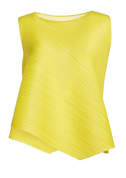 Image of A bold statement, this structured asymmetric handkerchief top flaunts a lightweight garment-pleated construction. Its bold yellow hue and modern cut make it a playful choice to update your wardrobe. Roundneck. Sleeveless. Pullover style. Asymmetric hem. P