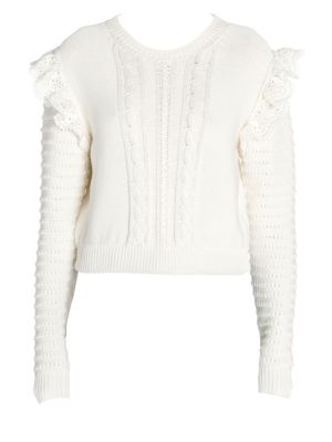 Ruffled Crochet-Trimmed Cotton Sweater in Ivory