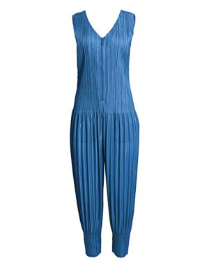 Pleats Please Issey Miyake Pleated Zip Front Jumpsuit