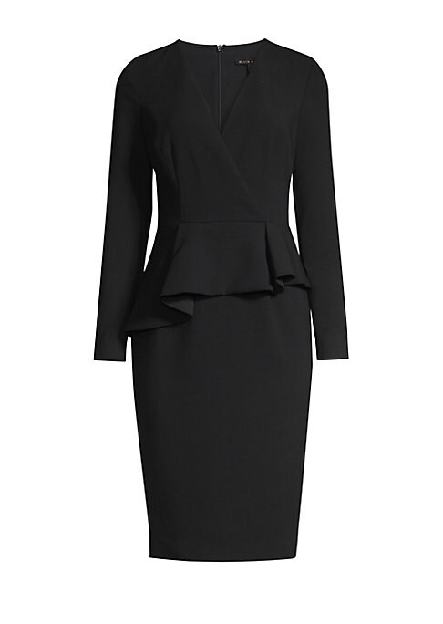 Image of Asymmetrical ruffled peplum waist lends opulent textures to this minimalist sheath dress. Surplice V-neck. Long sleeves. Asymmetric ruffled peplum waist front. Concealed back zip. Back vent. Exposed seams. Lined. Polyamide/viscose/elastane. Dry clean. Mad