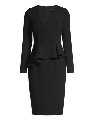 Jacquelyn Asymmetric Peplum Sheath Dress by Black Halo