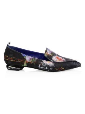 Beya Satin Floral Beveled Heel Loafers in Multi