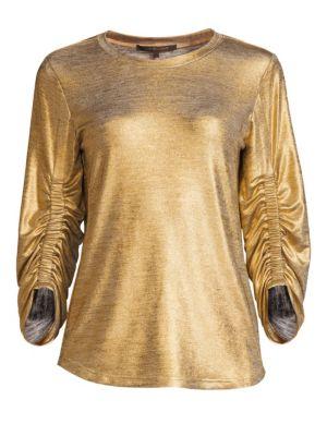 KOBI HALPERIN Calisa Ruched Metallic Top in Gold