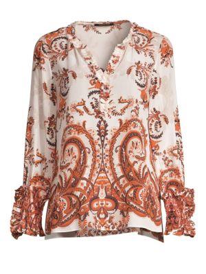 Rita Paisley Silk Blouse in Mandarin Multi