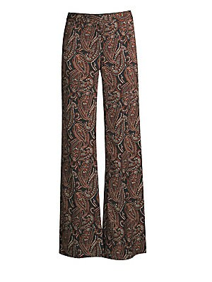 """Image of This pant alludes to the 70s with its paisley print and wide-leg silhouette. Banded waist Flared leg Lined Viscose/spandex Dry clean Imported SIZE & FIT Rise, about 9.5"""" Inseam, about 33.5"""" Leg opening, about 23.5"""" Model shown is 5'10"""" (177cm) wearing US"""