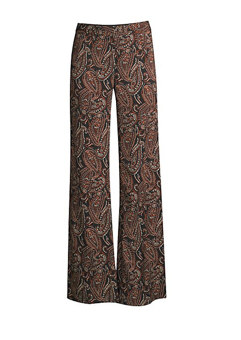 """Image of This pant alludes to the 70s with its paisley print and wide-leg silhouette. Banded waist. Flared leg. Lined. Viscose/spandex. Dry clean. Imported. SIZE & FIT. Rise, about 9.5"""".Inseam, about 33.5"""".Leg opening, about 23.5"""".Model shown is 5'10"""" (177cm) wear"""