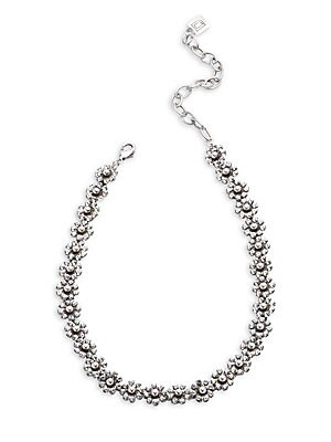 Image of Floral collar necklace with shimmering crystals. Glass crystals Oxidized silver Lobster clasp Imported SIZE Length, 11 with 3 extender. Fashion Jewelry - Trend Jewelry. Dannijo. Color: Silver.
