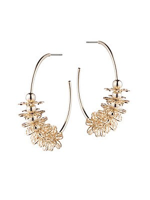Image of Beads and florals embellish classic hoop earrings. 12K goldplated Post back Imported SIZE Diameter, 2. Fashion Jewelry - Trend Jewelry > Saks Fifth Avenue. Dannijo. Color: Gold.