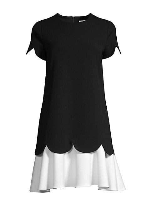 "Image of Colorblock shift dress with delicate scalloped detailing. .Roundneck. Short sleeves. Concealed back zip closure. Polyester/viscose/elastane. Machine wash. Imported. SIZE & FIT. Shift silhouette. About 34"" from shoulder to hem. Model shown is 5'10"" (177cm)"