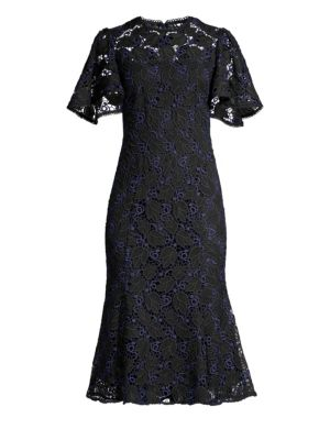 Shoshanna Harmonia Eyelet Lace Butterfly Sleeve Flounce Dress