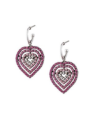 Image of Heart drop earrings with ombré crystals. Glass crystals Plated oxidized silver Post back Imported SIZE 1W x 2L. Fashion Jewelry - Trend Jewelry > Saks Fifth Avenue. Dannijo. Color: Pink.