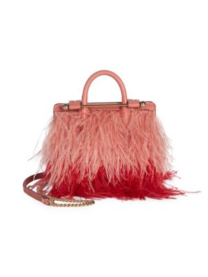 Strathberry Nano Ostrich Feathers & Leather Tote