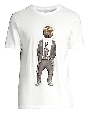 """Image of Iconic designer takes on the form of a pug on this graphic tee. Crewneck Short sleeves Pullover style Cotton Machine wash Imported SIZE & FIT About 28"""" from shoulder to hem. Men Adv Contemp - Contemporary Tops. Eleven Paris. Color: White. Size: XL."""