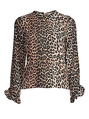 e6ac6218 GANNI - Printed Georgette Leopard Blouse - saks.com