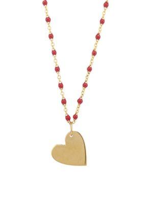 JENNIFER ZEUNER JEWELRY Ellie Mia 14K Yellow Gold Vermeil Heart Pendant Necklace