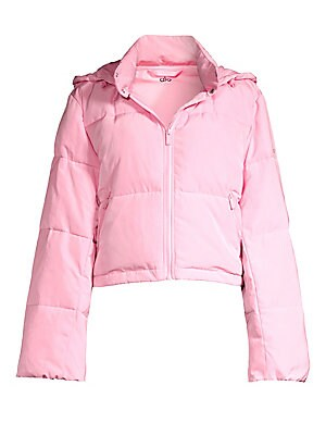 """Image of Bold puffer jacket in a crop silhouette with a removable zip-off hood. Removable hood Stand collar with snap closure Long sleeves Zip front Waist zip pockets Stretch lining Polyester Fill: Polyester Machine wash Imported SIZE & FIT About 19"""" from shoulder"""