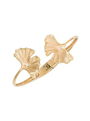"Image of Bold gingko leaf designs lend drama to this artisanal gold bracelet. 18K yellow gold Hinge clasp closure Made in France SIZE Diameter, about 2.17"". Fashion Jewelry - Modern Jewelry Designers. Aurélie Bidermann. Color: Gold."