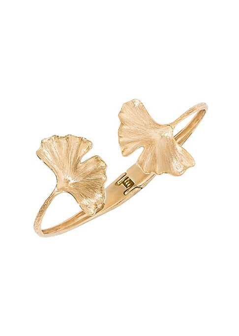 "Image of Bold gingko leaf designs lend drama to this artisanal gold bracelet.18K yellow gold. Hinge clasp closure. Made in France. SIZE. Diameter, about 2.17""."
