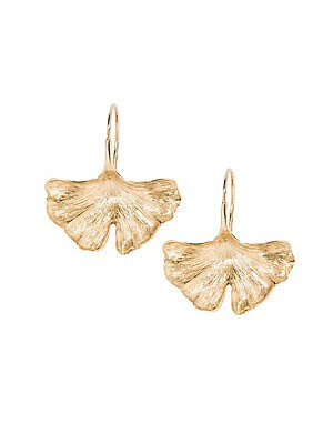 "Image of Bold gingko leaf earrings lend a striking golden finish. 18K yellow gold Fishhook back Made in France SIZE Width, 0.84"" Length, 1.09"". Fashion Jewelry - Modern Jewelry Designers. Aurélie Bidermann. Color: Gold."