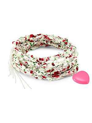 Image of Bright enamel heart adorns woven fabric wrap bracelet. Can also be worn as a necklace. Cotton Plastic Silvertone Imported SIZE Length, about 17.7. Fashion Jewelry - Trend Jewelry > Saks Fifth Avenue. Dannijo. Color: Pink.