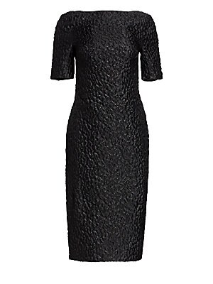 """Image of A textured finish brings an interesting dynamic to this elegant sheath dress. Boatneck Short sleeves Back zip closure Acetate/polyamide/silk/metalized polyester Dry clean Made in USA SIZE & FIT Sheath silhouette About 44"""" from shoulder to hem Model shown"""