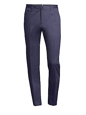 "Image of A classic straight leg silhouette cut in a comfortable stretch cotton. Belt loops Zip fly with tab-button closure Front coin pocket Back zip pockets Cotton/elastane Dry clean Made in Italy SIZE & FIT Rise, about 10"" Inseam, about 34"" Leg opening, about 15"