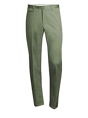 "Image of A classic trouser silhouette cut in a comfortable stretch cotton. Belt loops Zip fly with tab-button closure Front coin pocket Back zip pockets Cotton/elastane Dry clean Made in Italy SIZE & FIT Rise, about 10"" Inseam, about 34"" Leg opening, about 15"". Me"