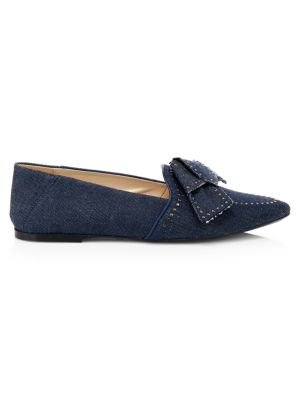 Tod S Denim Point Toe Bow Flats