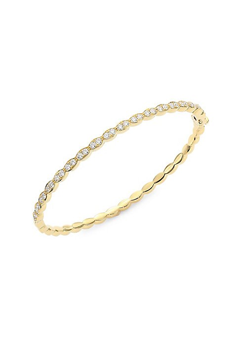Image of From the Lorelei Collection. Round diamonds and genuine crystals dot the length of this curved 18K yellow gold bangle. Genuine crystal. Round diamond, 0.98 tcw. Diamond color: GH. Diamond clarity: VS-SI.18K yellow gold. Hinge closure. Made in USA. SIZE. D