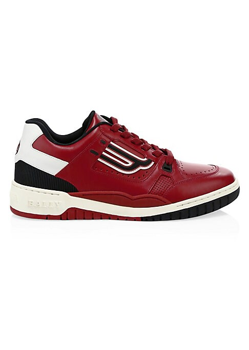 Image of Low-top leather sneakers with perforated design and bold colorblock panels. Leather upper and lining. Round toe. Lace-up vamp. Rubber sole. Cushioned insole. Made in Italy.