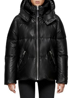 Mackage Leather Down Puffer Jacket