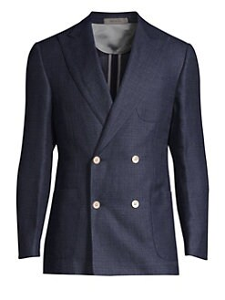 ee9c9d20512 Corneliani. Wool Peak Lapel Double-Breasted Jacket