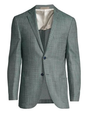 Corneliani Printed Silk Two Button Blazer