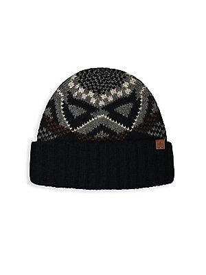 "Image of Classic wool-blend beanie with print design and side signature logo detail. Lambswool/nylon Hand wash Imported SIZE Length, about 10.5"". Men Accessories - Fashion Accessories > Saks Fifth Avenue. Bickley + Mitchell. Color: Navy."