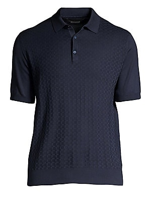 "Image of Understated honeycomb jacquard weave lends refinement to this polo. Polo collar Short sleeves Rib-knit cuffs and hem Three-button placket Cotton Machine wash Made in Italy SIZE & FIT About 28"" from shoulder to hem. Men Luxury Coll - Corneliani Clothing >"