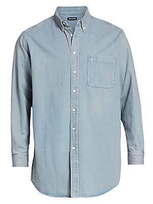 "Image of A back logo details this cotton button-front shirt. Point collar Long sleeves Front patch pocket Button-front Cotton Dry clean Imported SIZE & FIT Classic fit About 30"" from shoulder to hem. Men Advcd Dsgnr - Advanced Designer Collec > Saks Fifth Avenue."