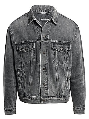 "Image of A bold logo details this cotton denim jacket, in light washed finish. Fold-over collar Long sleeves Front flap-button patch pockets Button-front Cotton Dry clean Imported SIZE & FIT Classic fit About 30"" from shoulder to hem. Men Advcd Dsgnr - Advanced De"