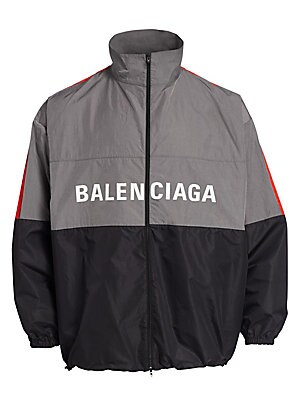 "Image of A casual-cool staple, this sporty colorblock jacket features a bold logo graphic. Stand collar Long sleeves Zip front Polyamide Dry clean Made in Italy SIZE & FIT Classic fit About 30"" from shoulder to hem. Men Advcd Dsgnr - Advanced Designer Collec. Bale"