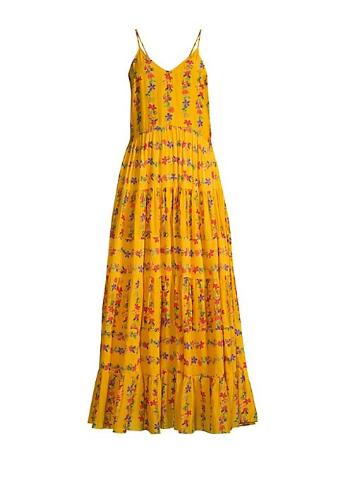 Image of Bright flowers populate this tiered tent-shaped dress, lending the piece a pretty prairie aesthetic.V-neck. Adjustable spaghetti straps. Concealed side zip closure. Scoopback. Ruffle hem. Cotton/silk. Dry clean. Imported. SIZE & FIT. Maxi silhouette. Abou