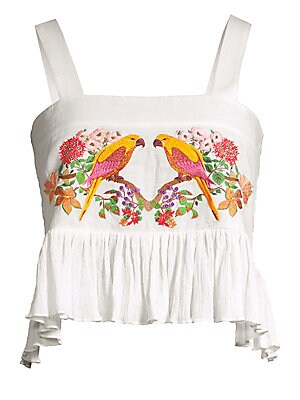 """Image of Crinkled cotton crop top embroidered with intricate parrot and floral motifs. Squareneck Sleeveless Pullover style Asymmetric flounce hem Shirred back Cotton Dry clean Imported SIZE & FIT About 18.5"""" from shoulder to hem Model shown is 5'10"""" (177cm) weari"""
