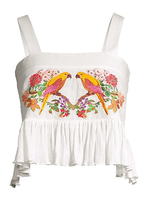 """Image of Crinkled cotton crop top embroidered with intricate parrot and floral motifs. Squareneck. Sleeveless. Pullover style. Asymmetric flounce hem. Shirred back. Cotton. Dry clean. Imported. SIZE & FIT. About 18.5"""" from shoulder to hem. Model shown is 5'10"""" (17"""