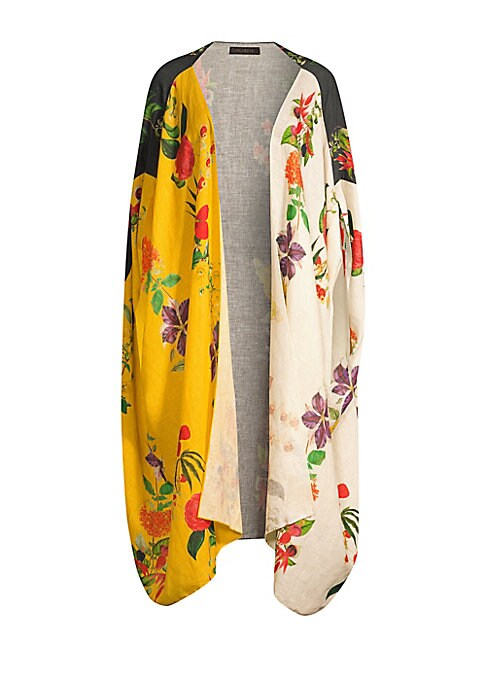 """Image of From the Saks It List: Garden Party Florals. Lightweight linen cape silhouette in a vibrant colorblocked floral design makes a dramatic topper. Cape sleeves. Open front. High-low hem. Linen. Hand wash. Imported. SIZE & FIT. About 43"""" from shoulder to hem."""