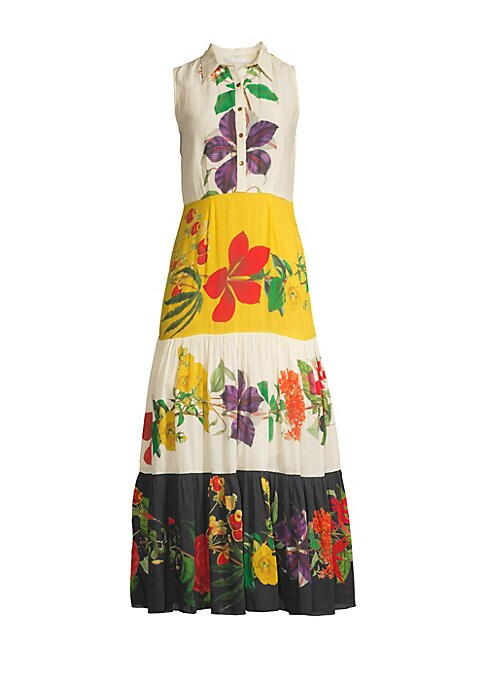 Image of From the Saks It List: Garden Party Florals. Boho-chic midi dress defined by flowing peasant skirt and oversized floral motifs. Spread collar. Sleeveless. Side zip and button front closure. Tiered colorblock skirt. Cotton/silk. Dry clean. Imported. SIZE &