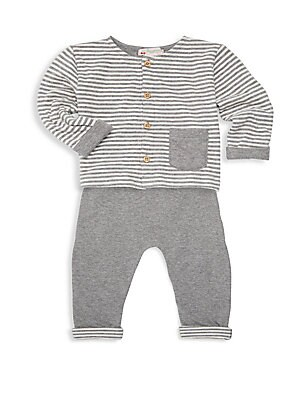 Image of Coordinating set for baby in soft lined cotton. Cotton. Machine wash. Imported. TOP Crewneck Long sleeves Button front Waist patch pocket Contrast lining BOTTOMS Elasticized waistband Pull-on style Contrast lining. Children's Wear - Designer Children. Bon