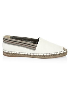 234123591b2b QUICK VIEW. Brunello Cucinelli. Striped Trim Leather Espadrilles