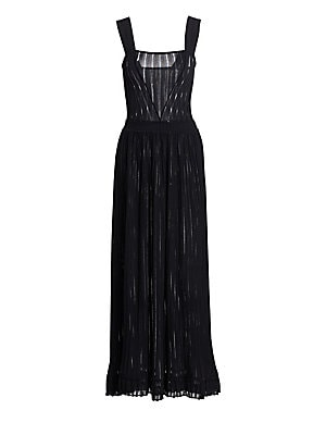 Image of Alaïa creations are renowned for their intricacy and svelte silhouettes. Laser cut into sheer pleats, these billowy textures elevate this midi dress to airy romantic effects. Squareneck Sleeveless Pullover style Banded waist Chiffon finish Viscose/polyami