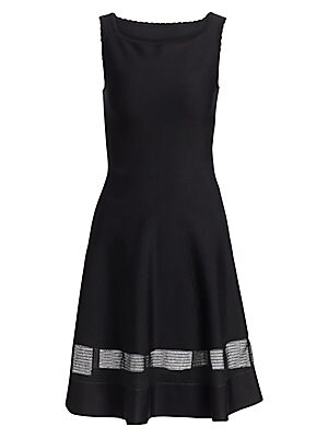 Image of A ladylike fit-and-flare silhouette is offset by a sporty mesh insert around the skirt evoking an elevated athleisure feeling. Delicate scallop trim highlights the neckline and shoulders while a hint of stretch in the fabrication ensure this cocktail dres